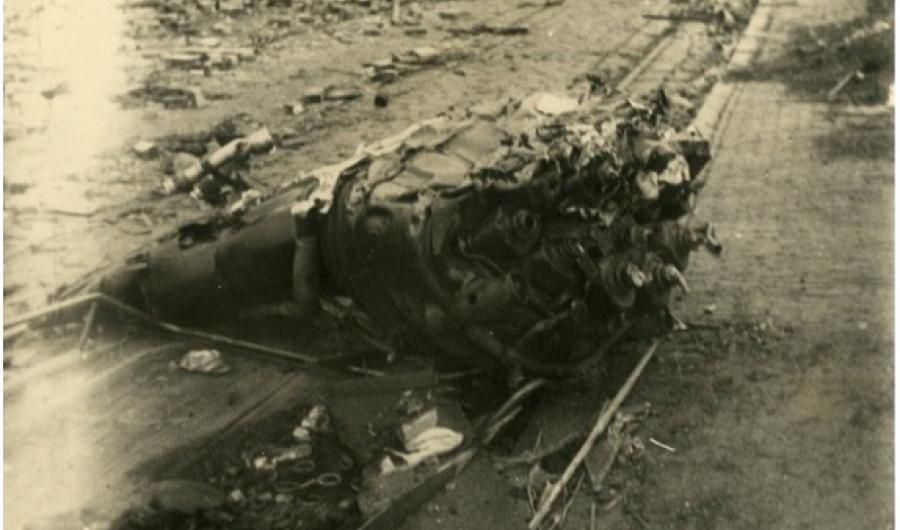 Neergestorte V2-raket in Bezuidenhout-West