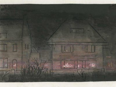 Jan Vegter maakte deze tekening van hoe hij als 17 jarige destijds vanuit Voorburg het bombardement had beleefd